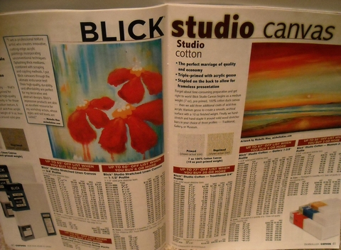 Photo: Featured Artist in a double page spread; Dick Blick Art Catalog, page 40-41